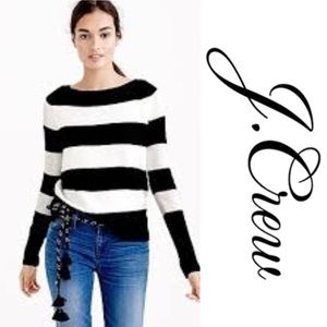 J. Crew Merino Wool Boatneck Stripe Sweater M